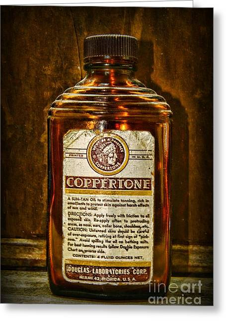 Sun Tanning Greeting Cards - Vintage Coppertone Bottle Greeting Card by Paul Ward