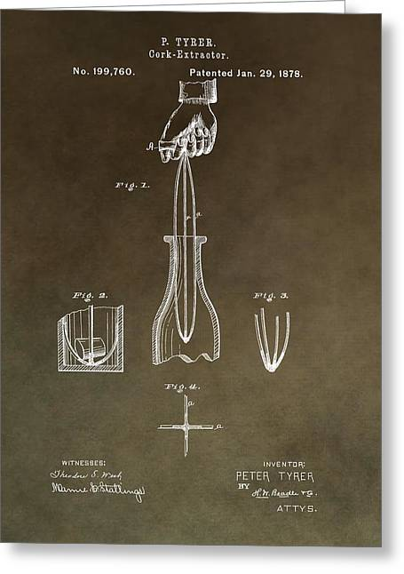 Winery Photography Greeting Cards - Vintage Cork Extractor Patent Greeting Card by Dan Sproul
