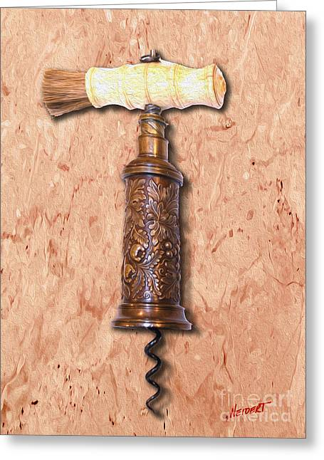 Red Wine Bottle Mixed Media Greeting Cards - Vintage Corkscrew Painting 6 Greeting Card by Jon Neidert