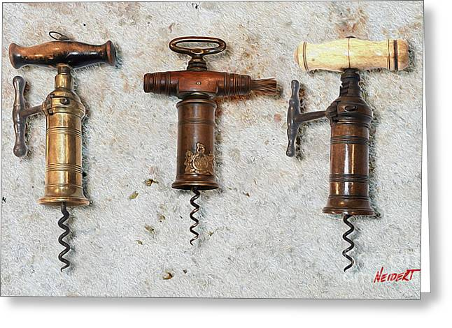 Cigar Mixed Media Greeting Cards - Vintage Corkscrews Painting Greeting Card by Jon Neidert