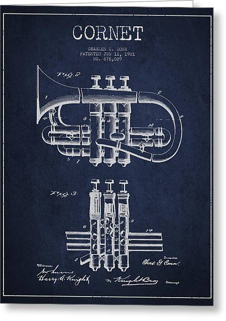 Trumpet Greeting Cards - Cornet Patent Drawing from 1901 - Blue Greeting Card by Aged Pixel