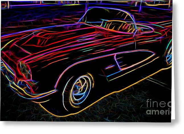 Valuable Greeting Cards - Vintage Corvette - Classic Car - Neon  Greeting Card by Gary Whitton