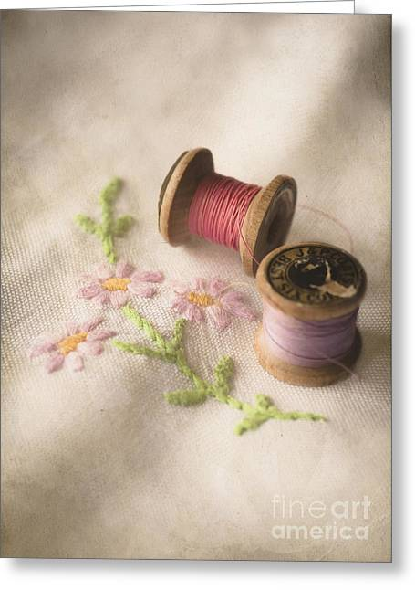 Vintage Cotton Reels Greeting Card by Jan Bickerton