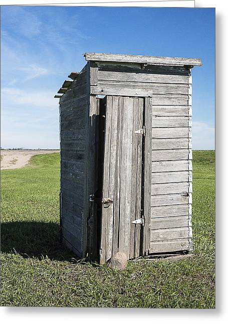 Antique Outhouse Greeting Cards - Vintage Country One-room School Outhouse Greeting Card by Donald  Erickson