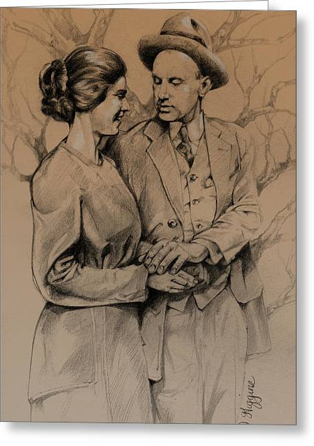 Period Drawings Greeting Cards - Vintage Courting Couple Greeting Card by Derrick Higgins