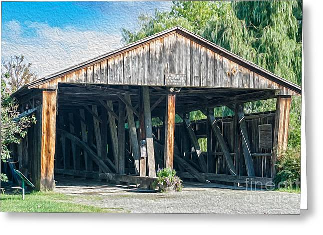 Old Country Roads Greeting Cards - Vintage covered bridge in USA Greeting Card by Patricia Hofmeester