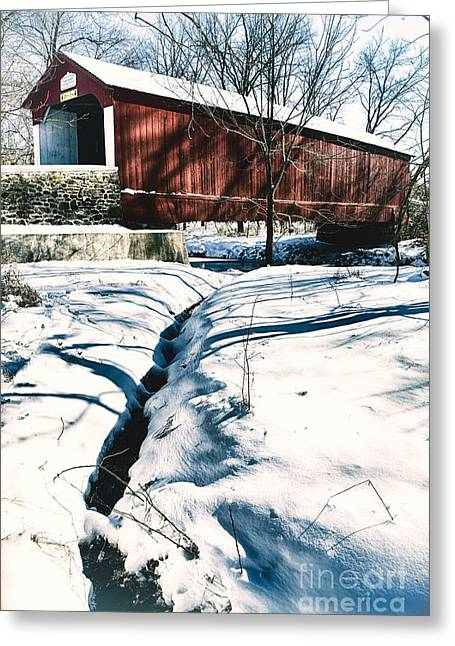 Vintage Covered Bridge In Winter Landscape Greeting Card by George Oze