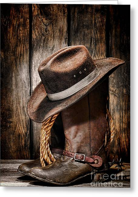 Barn Wood Greeting Cards - Vintage Cowboy Boots Greeting Card by Olivier Le Queinec