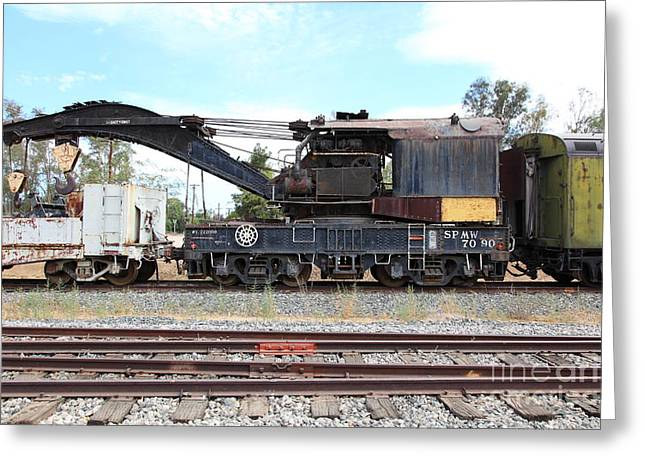 Tanker Train Greeting Cards - Vintage Crane Train 5D28374 Greeting Card by Wingsdomain Art and Photography