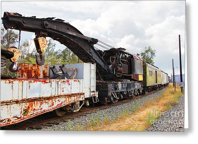 Tanker Train Greeting Cards - Vintage Crane Train 5D28378 Greeting Card by Wingsdomain Art and Photography