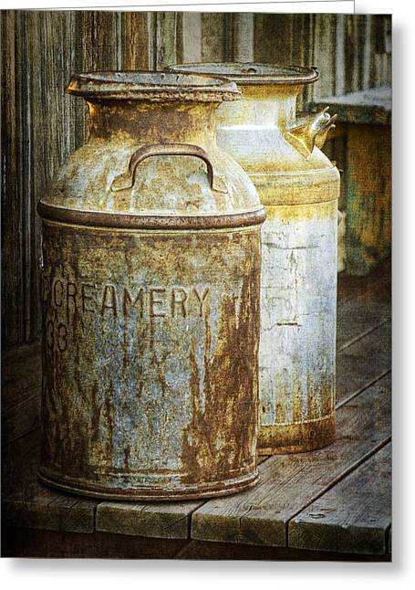 Vintage Creamery Cans In 1880 Town In South Dakota Greeting Card by Randall Nyhof