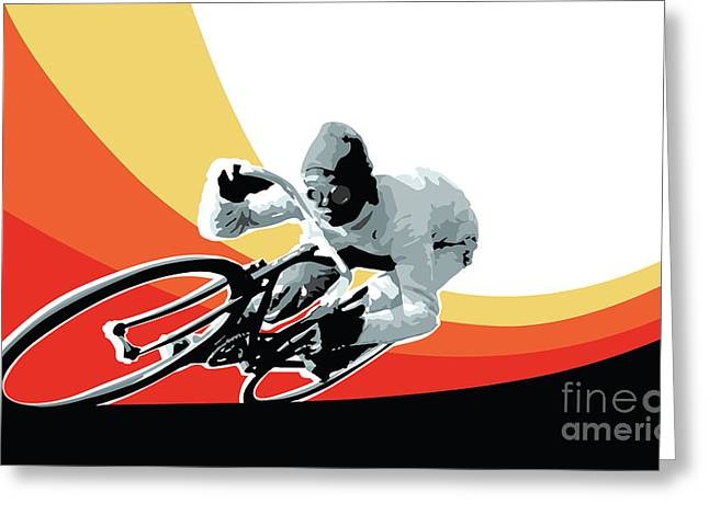 Sports Art Print Greeting Cards - Vintage cyclist with colored swoosh poster print Speed demon Greeting Card by Sassan Filsoof