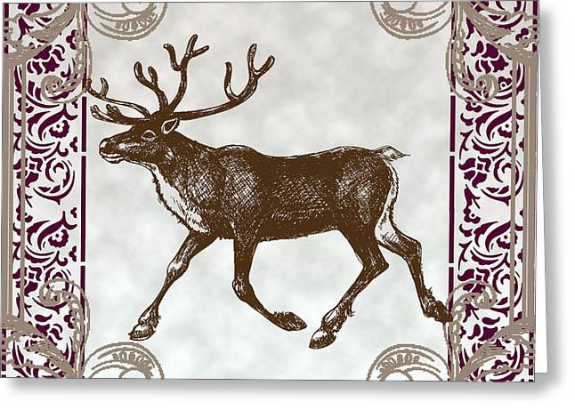Winter Road Scenes Mixed Media Greeting Cards - Vintage Deer Artowrk Greeting Card by Art World