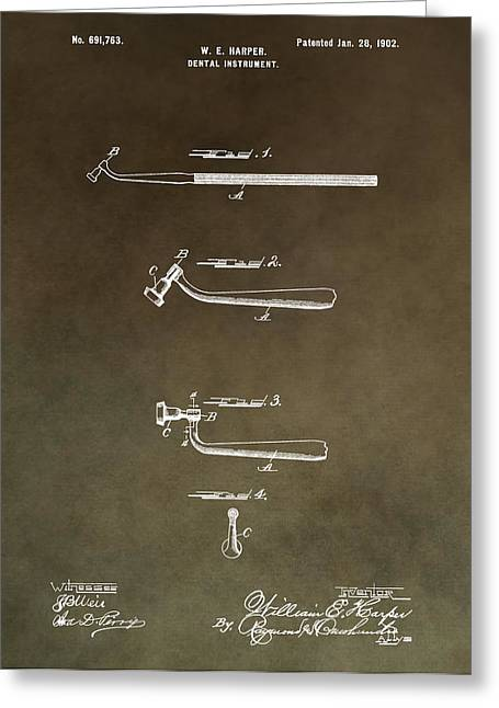 Pull Greeting Cards - Vintage Dental Instrument Patent Greeting Card by Dan Sproul