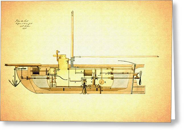 Vintage Design For A Submarine - 1806 Greeting Card by Mountain Dreams
