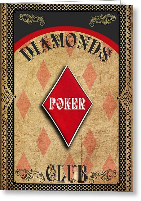 Las Vegas Art Greeting Cards - Vintage Diamonds Poker Club Greeting Card by Greg Sharpe