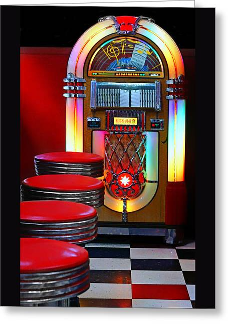 Checkerboard Floor Greeting Cards - Vintage Diner Greeting Card by Nikolyn McDonald