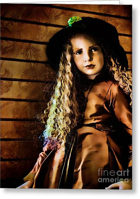 Collectors Toys Photographs Greeting Cards - Vintage Doll Greeting Card by Colleen Kammerer
