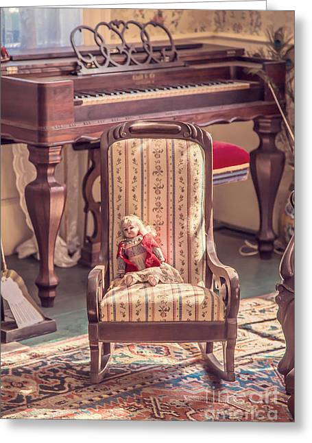 Old Rug Greeting Cards - Vintage doll in parlor Greeting Card by Edward Fielding