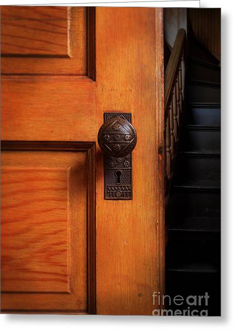 Wooden Stairs Greeting Cards - Vintage Door and Stairs Greeting Card by Jill Battaglia