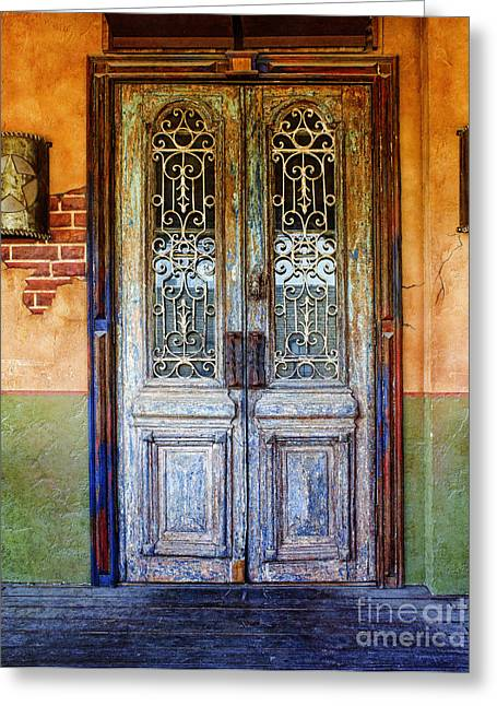 Grate Photographs Greeting Cards - vintage door in Hico TX Greeting Card by Elena Nosyreva