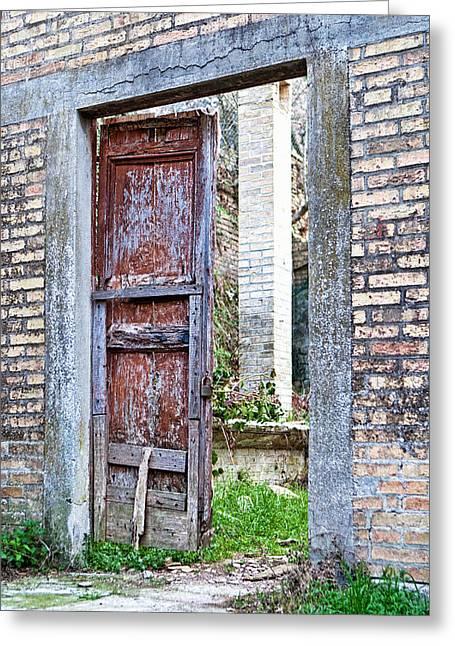 Entrance Door Photographs Greeting Cards - Vintage Doorway Greeting Card by Susan  Schmitz