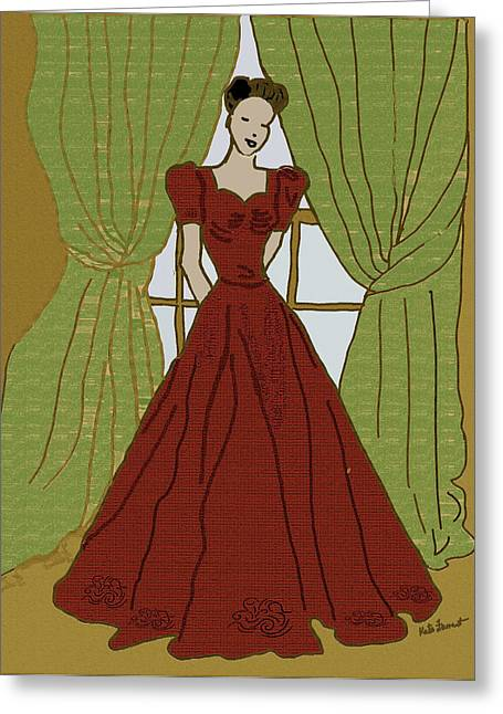 Evening Dress Digital Art Greeting Cards - Vintage Dress 1 Greeting Card by Kate Farrant