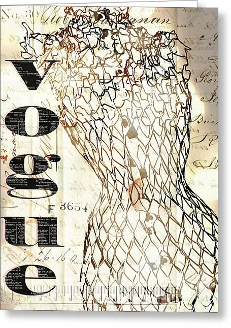 Sewing Room Greeting Cards - Vintage Dress form mannequin french script wall art Greeting Card by ArtyZen Home