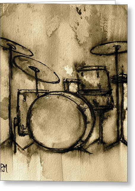 Tone Greeting Cards - Vintage Drums Greeting Card by Pete Maier