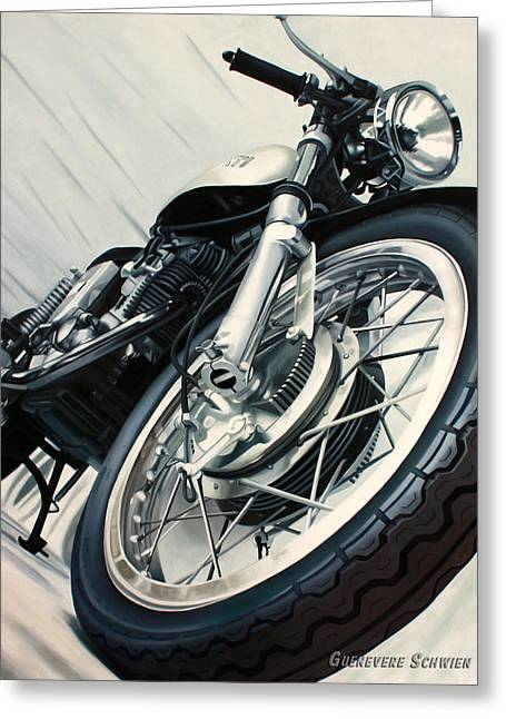 Spokes Paintings Greeting Cards - Vintage Ducati Greeting Card by Guenevere Schwien