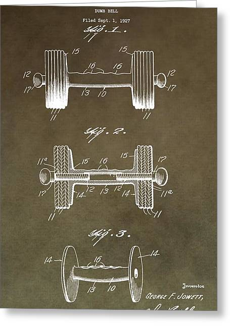 Weights Digital Greeting Cards - Vintage Dumbbell Patent Greeting Card by Dan Sproul