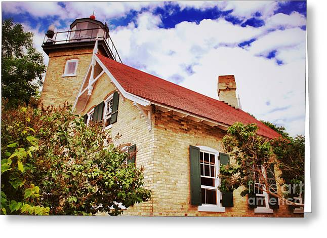 Fish Creek Greeting Cards - Vintage Eagle Bluff Lighthouse Greeting Card by Shutter Happens Photography