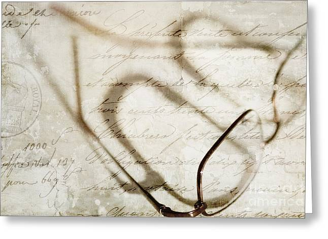 French Script Greeting Cards - Vintage Effect Reading Glasses in the Sunlight Greeting Card by Natalie Kinnear