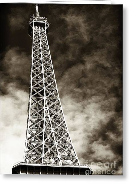 Brown Tones Greeting Cards - Vintage Eiffel Tower Greeting Card by John Rizzuto