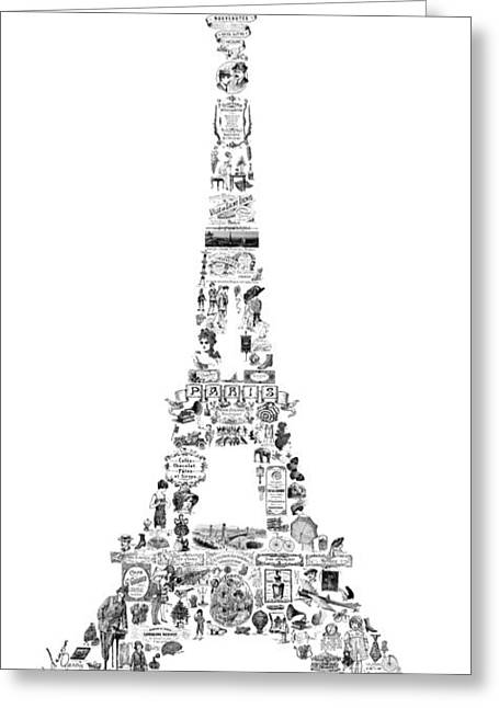 Eiffel Tower Greeting Cards - Vintage Eiffel Tower Greeting Card by Marion De Lauzun