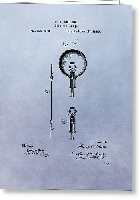 Wire Mixed Media Greeting Cards - Vintage Electric Lamp Patent Thomas Edison Greeting Card by Dan Sproul