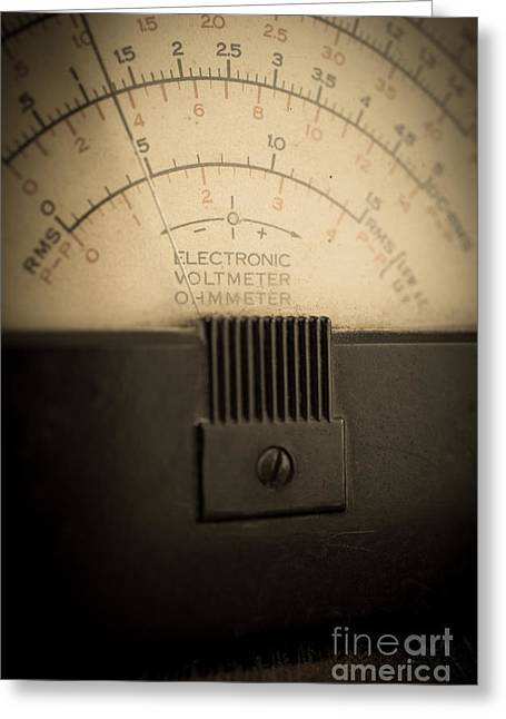 Dial Greeting Cards - Vintage Electric Meter Greeting Card by Edward Fielding