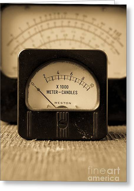 Power Photographs Greeting Cards - Vintage Electrical Meters Greeting Card by Edward Fielding