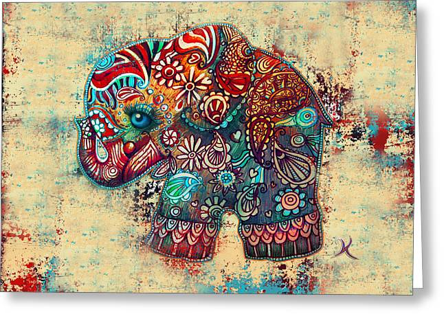 Christmas Art Greeting Cards - Vintage Elephant Greeting Card by Karin Taylor