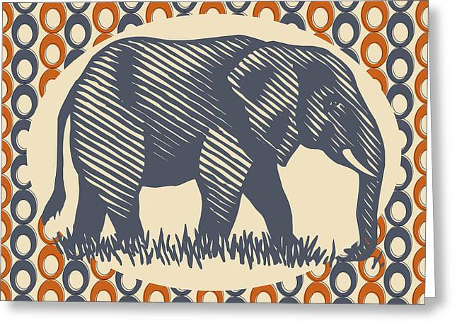 Vintage Elephant Orange Gray Greeting Card by Flo Karp