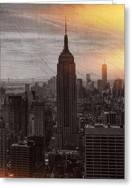 Center City Mixed Media Greeting Cards - Vintage Empire State Building Greeting Card by Dan Sproul