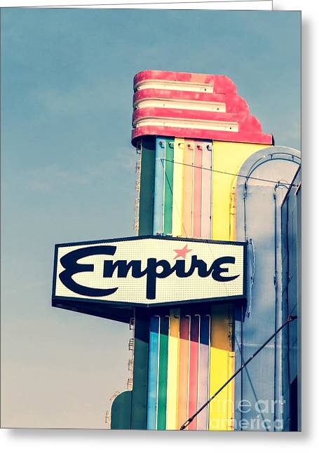 Advertisment Greeting Cards - Vintage Empire Theater Sign Greeting Card by Edward Fielding