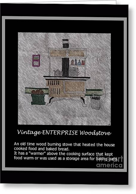 Enterprise Drawings Greeting Cards - Vintage ENTERPRISE Woodstove Greeting Card by Barbara Griffin