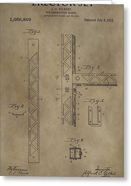 Toy Shop Greeting Cards - Vintage Erector Set Patent Greeting Card by Dan Sproul