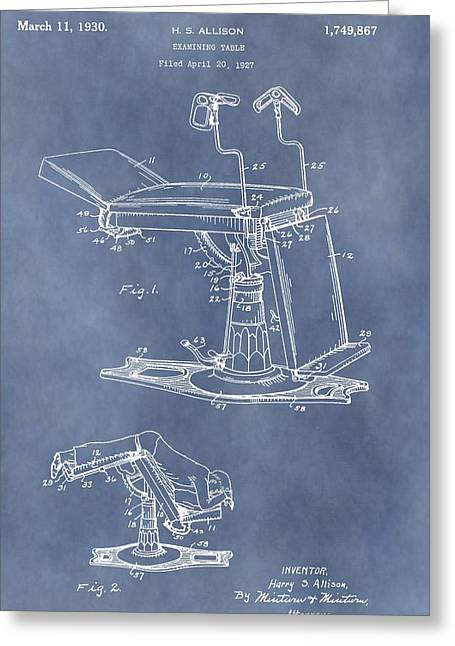 Historical Surgeon Greeting Cards - Vintage Examination Table Patent Greeting Card by Dan Sproul