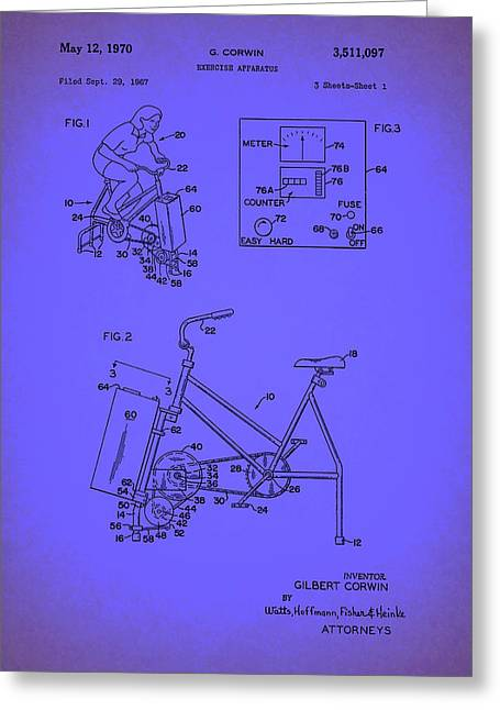 Exercise Drawings Greeting Cards - Vintage Exercise Bike Patent Greeting Card by Mountain Dreams