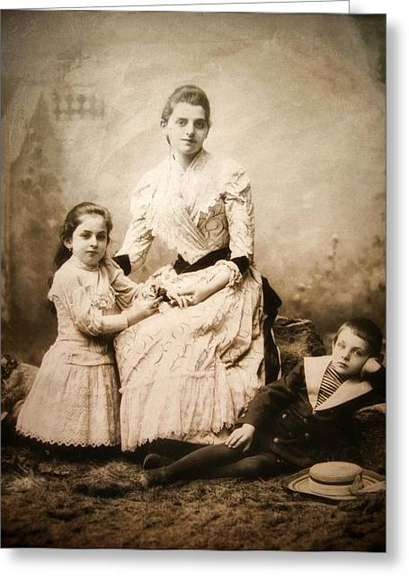 Family Portrait Greeting Cards - Vintage Family Portrait Greeting Card by Jessica Jenney