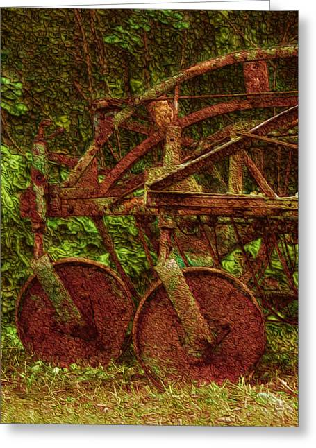 Cattle-shed Greeting Cards - Vintage Farm Equipment Greeting Card by Jack Zulli