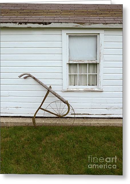 Clapboard House Greeting Cards - Vintage Farm Tool by Farmhouse Greeting Card by Jill Battaglia