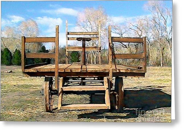 Ledge Greeting Cards - Vintage Farm Wagon Greeting Card by Cristophers Dream Artistry